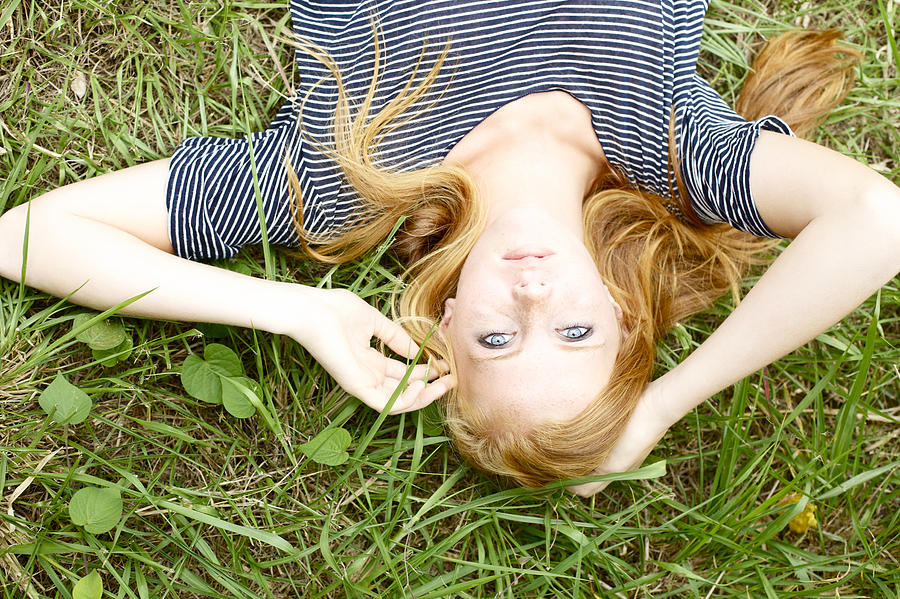 Blue Photograph - Young Girl On Grass by Kicka Witte