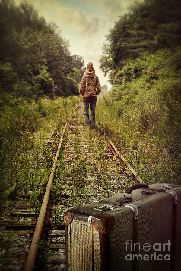823ac02d39 Abuse Photograph - Young Girl Walking Alone On Abandoned Train Tracks by Sandra  Cunningham