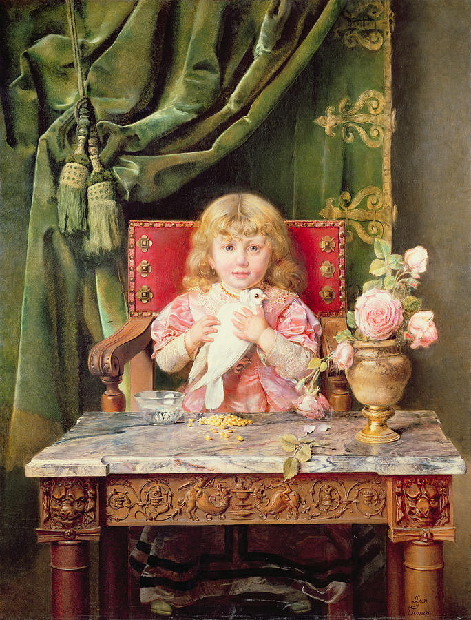 Young Painting - Young Girl With A Dove   by Ignacio Leon y Escosura