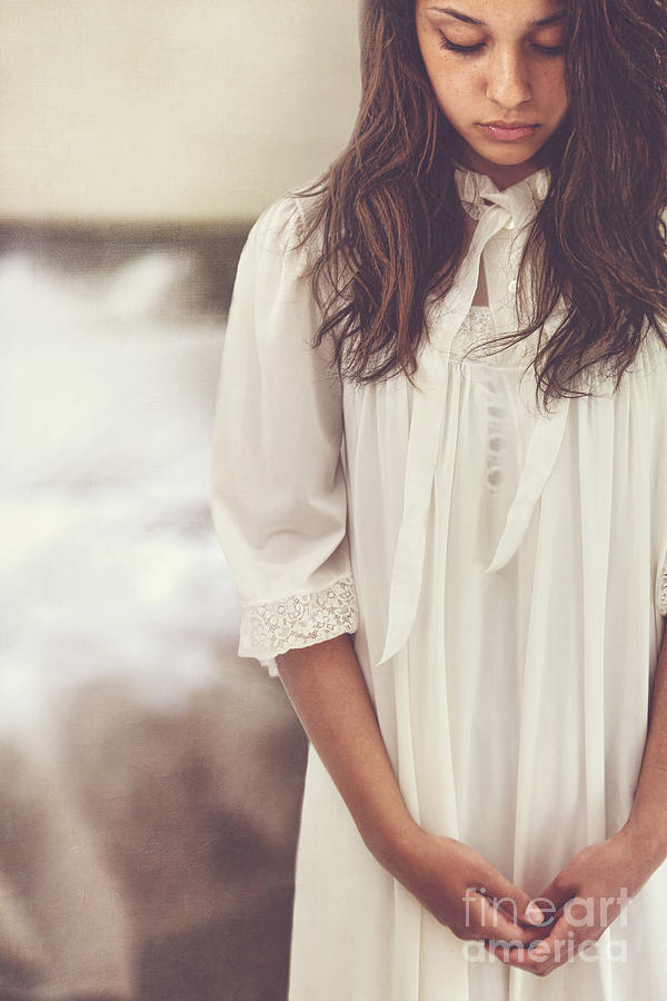 0b0ca3470d Abused Photograph - Young Woman Looking Down And Wearing A White Nightgown  by Sandra Cunningham