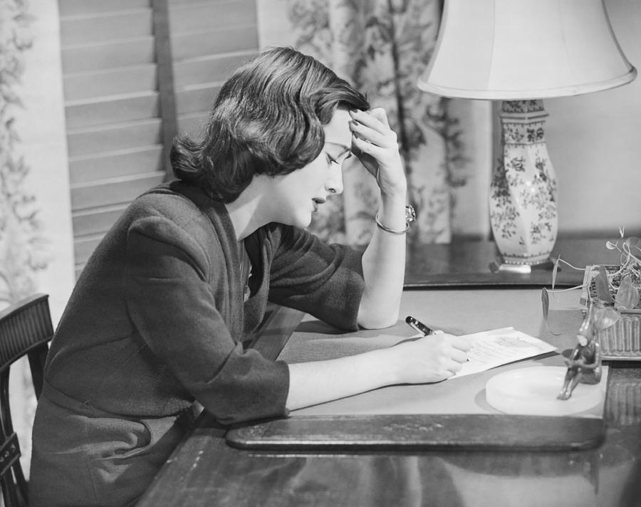 Adult Photograph - Young Woman Writing Letter At Desk, (b&w) by George Marks