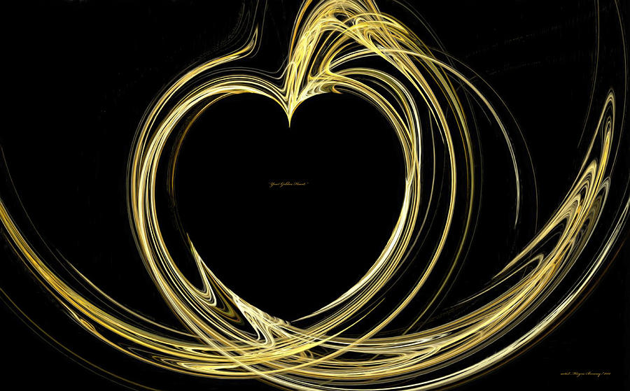 Abstracts Painting - Your Golden Heart by Wayne Bonney