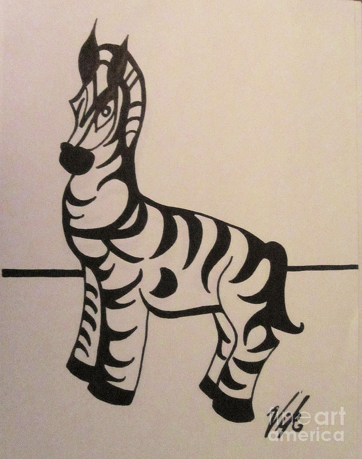 Zebra Drawing - Zebra by Lyn Vic