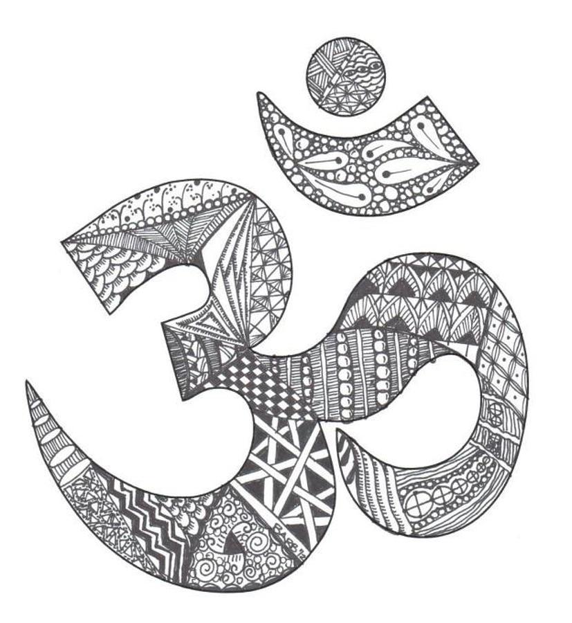 Zen Line Drawing : Zen ohm drawing by barbara carlson