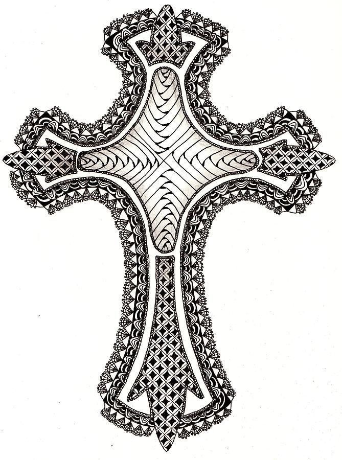 Cross Drawing - Zentangle Cross by Michelle Kidwell