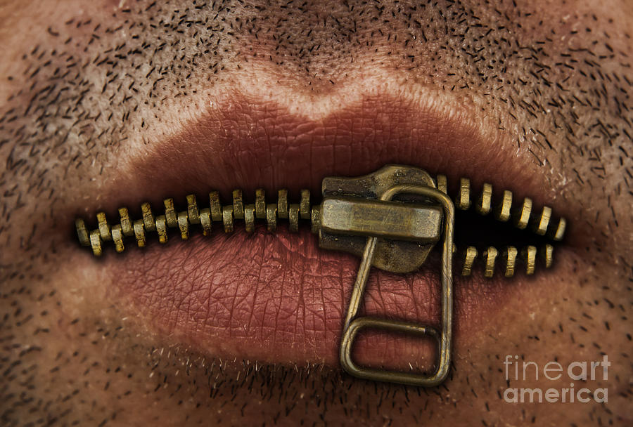 Zipper Photograph - Zipper On Mouth by Blink Images