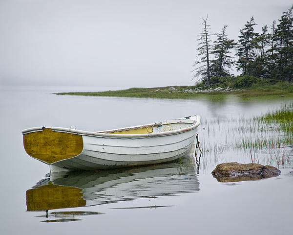 Randall Nyhof - White Maine Boat on a Foggy Morning