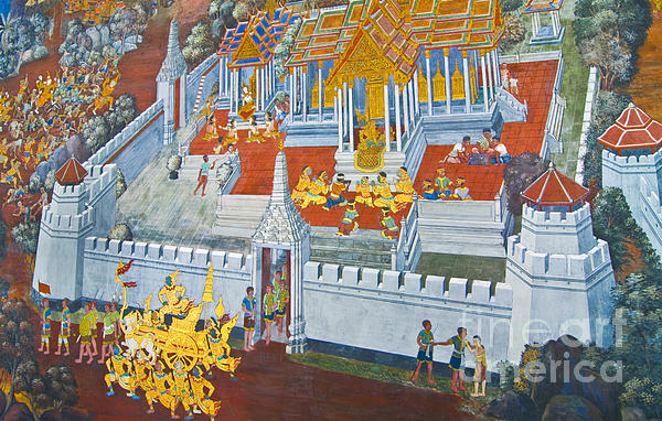 Komkrit Muanchan - art painting on Thai temple wall
