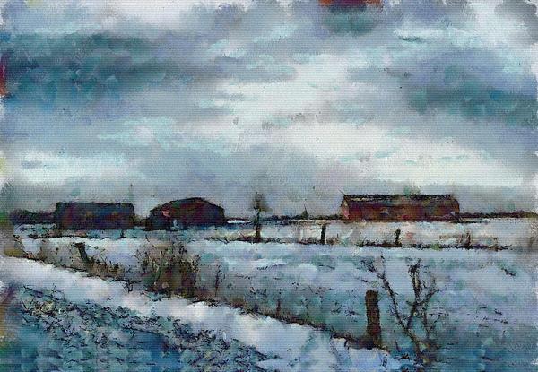 Mario Carini - Barns in the Light of Dawn