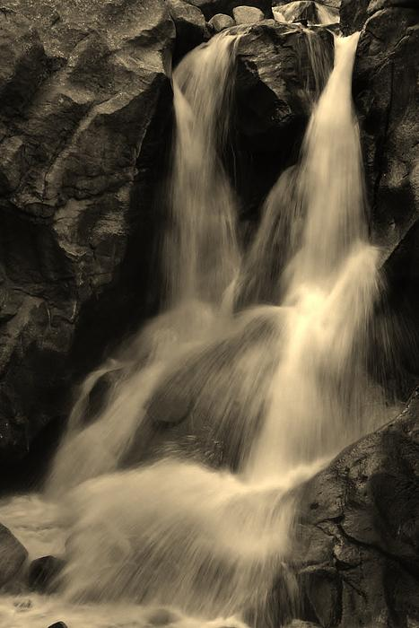 Bruce Bley - Boulder Falls in Black and White
