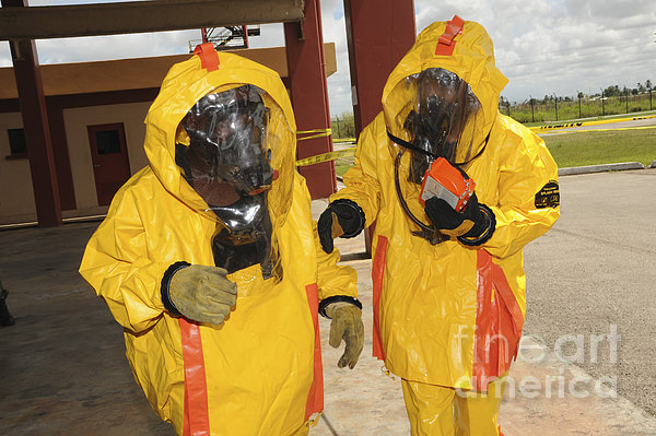 Firefighters Dressed In Hazmat Suits Greeting Card For Sale By Stocktrek Images