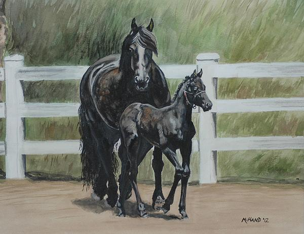 Michelle Hand - Friesian momma and baby