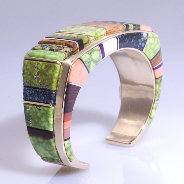 Wes Willie - Navajo 14kt Gold Raised Inlay Bracelet