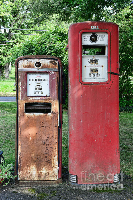 Old Gas Station Pumps Greeting Card