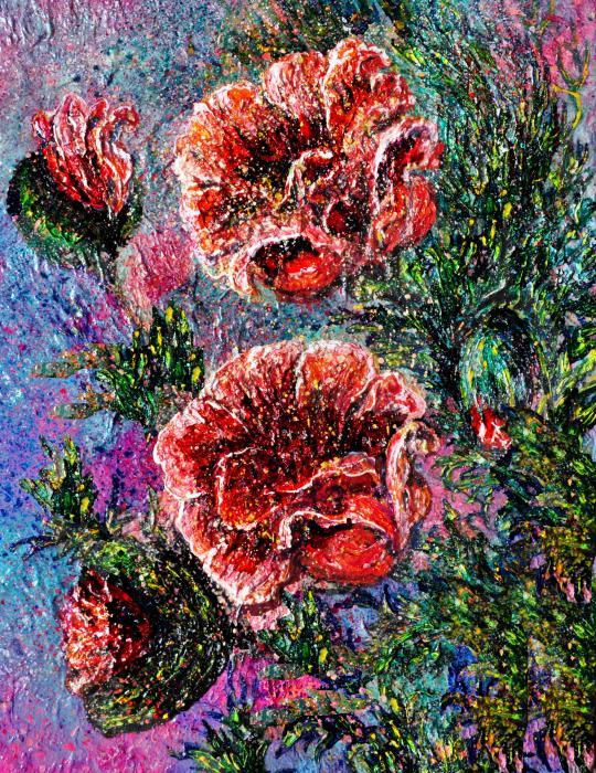 Lena  Owens OLena Art - Red Blossom