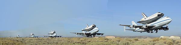 Brian Lockett - Space Shuttle Endeavour departs Edwards AFB September 21 2012 Multiple Exposure