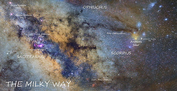 Star Map Version The Milky Way And Constellations Scorpius Sagittarius And  The Star Antares Greeting Card