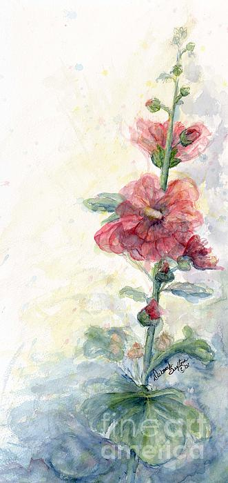 CheyAnne Sexton - Touch of Summer Hollyhocks watercolor