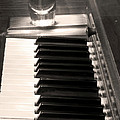 A Shot Of Bourbon Whiskey And The Bw Piano Ivory Keys In Sepia by James BO  Insogna