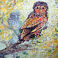Acrylic Painting Fuzzy Yellow Owl  by Ashleigh Dyan Bayer