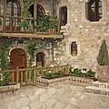 Greek Courtyard - Agiou Stefanou Monastery -balcony by Jan Dappen