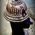 Antique Fire Hydrant - Blue Tones by Miriam Danar