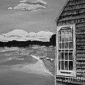 Boathouse - On The Maine Seashore - Black And White by Jan Dappen