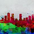 Denver Watercolor Skyline by Naxart Studio