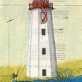 Faulkner Island Lighthouse Ct Nautical Chart Map Art by Cathy Peek
