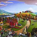 Folk Art Blackberry Patch Rural Country Farm Landscape Painting - Blackberries Rustic Americana by Walt Curlee