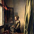Girl Reading A Letter By An Open Window by Johannes Vermeer