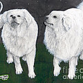 Great Pyrenees Dogs Night Sky Cathy Peek Animal Art by Cathy Peek