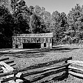 Historical Cantilever Barn At Cades Cove Tennessee In Black And White by Kathy Clark