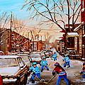 Hockey Art- Verdun Street Scene - Paintings Of Montreal by Carole Spandau