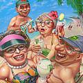 Humorous Snowbirds On Vacation - Senior  Citizen Citizens - Beach - Illustration  by Walt Curlee