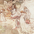 Illustration For A Fairy Tale Fairy Queen Covering A Child With Blossom by Arthur Rackham