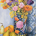 Iris And Pinks In A Japanese Vase With Pears by Joan Thewsey