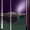 076 - Landscape With Columns And Two Monoliths  by Irmgard Schoendorf Welch