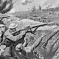 Lewis Gun In The British Trenches by Mary Evans Picture Library