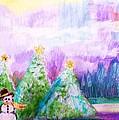 Little Snowman And Trees by Anne-Elizabeth Whiteway