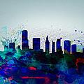Miami Watercolor Skyline by Naxart Studio