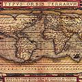 Ortelius World Map -typvs Orbis Terrarvm - 1570 by Bill Cannon