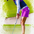 Paula Creamer Putts The Ball On The Fourth Green by Don Kuing