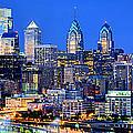 Philadelphia Skyline At Night Evening Panorama by Jon Holiday