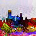 Providence Watercolor Skyline by Naxart Studio