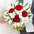 Red Rose And White Tulip Wedding Bouquet by Lee Avison