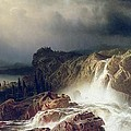 Rocky Landscape With Waterfall In Smaland by Marcus Larson