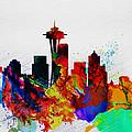 Seattle Watercolor Skyline 2 by Naxart Studio