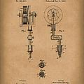 Tattoo Machine 1891 Patent Art Brown by Prior Art Design
