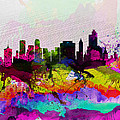 Tulsa Watercolor Skyline by Naxart Studio